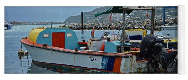 Colorful Saint Martin Power Boat Caribbean Yoga Mat