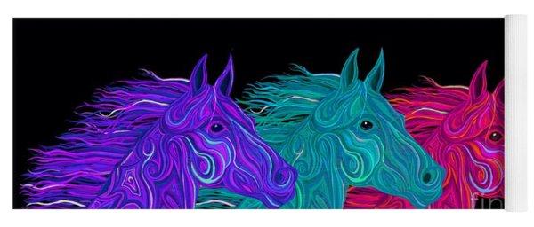 Colorful Stallions  Yoga Mat