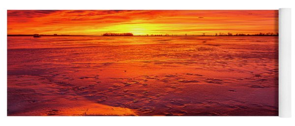 Colorful Sunrise Or Sunset On A Frozen Lake With Rocks In The Fo Yoga Mat