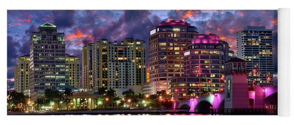 Colorful Sunset Over Downtown West Palm Beach Florida Yoga Mat