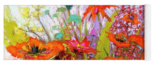 Colorful Wildflowers Bunch, Oil Painting, Palette Knife Yoga Mat