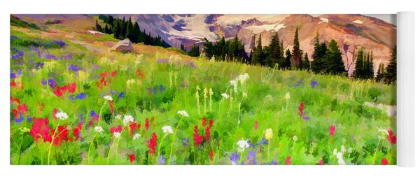 Colorful Wildflowers In National Park Mount Rainier Yoga Mat