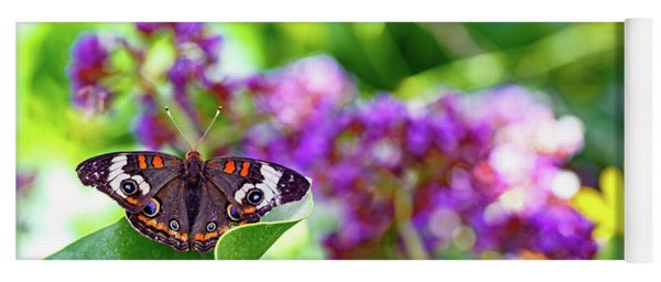 Common Buckeye Butterfly On Leaf Yoga Mat