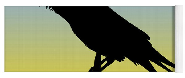 Common Raven Silhouette At Sunrise Yoga Mat