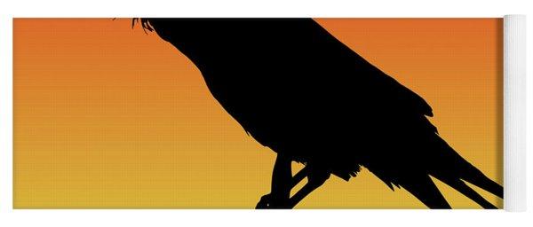 Common Raven Silhouette At Sunset Yoga Mat