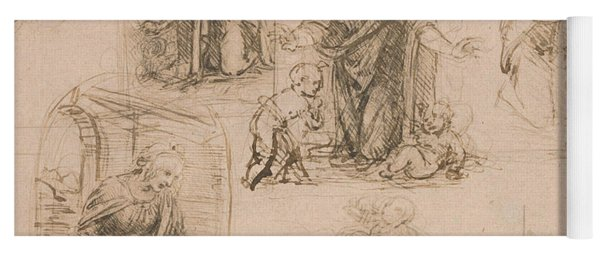 Compositional Sketches For The Virgin Adoring The Christ Child Yoga Mat