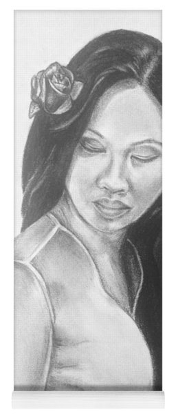 Long Hair Asian Lady With Rose In Sorrow Charcoal Drawing  Yoga Mat