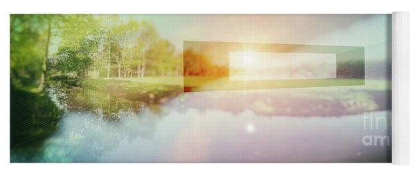Conceptual Nature Background, Double Exposition  Yoga Mat