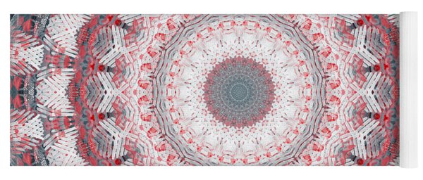 Concrete And Red Mandala- Abstract Art By Linda Woods Yoga Mat