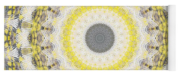 Concrete And Yellow Mandala- Abstract Art By Linda Woods Yoga Mat