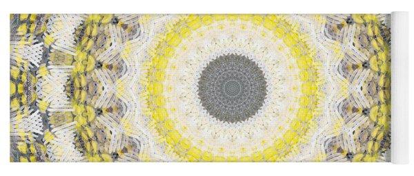 Concrete And Yellow Mandala- Abstract Art By Linda Woods Yoga Mat