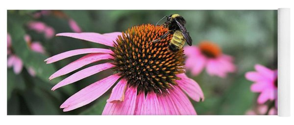 Cone Flowers And Bee Yoga Mat