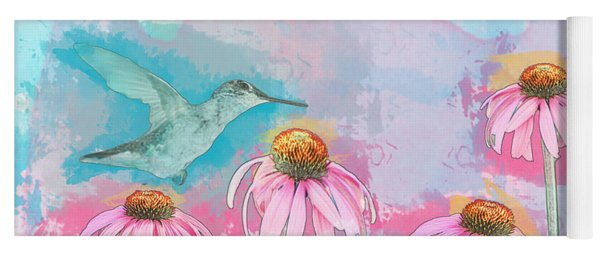 Yoga Mat featuring the photograph Coneflower Hummingbird Watercolor by Patti Deters