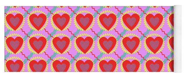Connected Hearts Pattern Yoga Mat