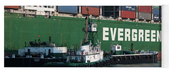 Container Ship With Tug Boats Yoga Mat