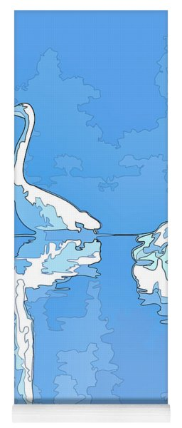 Abstract Herons Cool Blue Yoga Mat