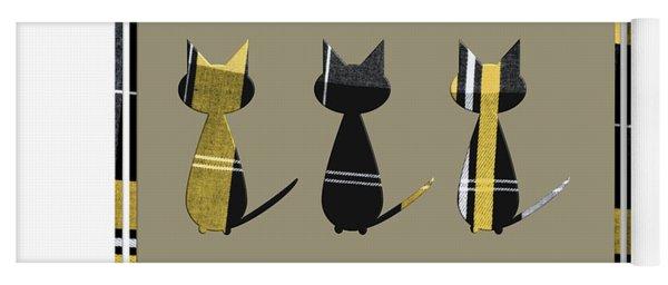 Cool Cats In Tartan Yoga Mat