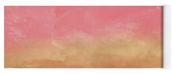 Coral And Gold Abstract 1- Art By Linda Woods Yoga Mat