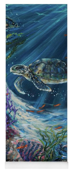 Coral Reef Turtle Yoga Mat