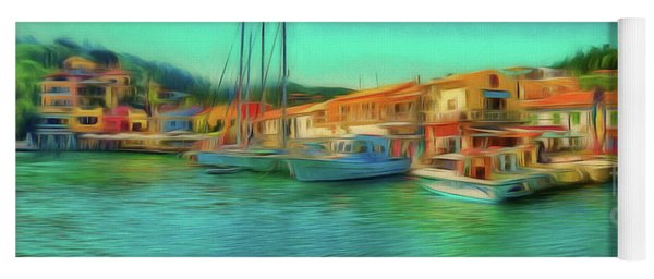 Yoga Mat featuring the photograph Corfu 14 - Panorama Of Lakka On Paxos by Leigh Kemp