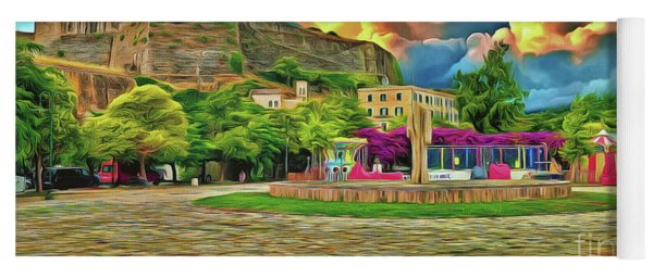 Yoga Mat featuring the photograph Corfu 32 - Near The Fortress by Leigh Kemp