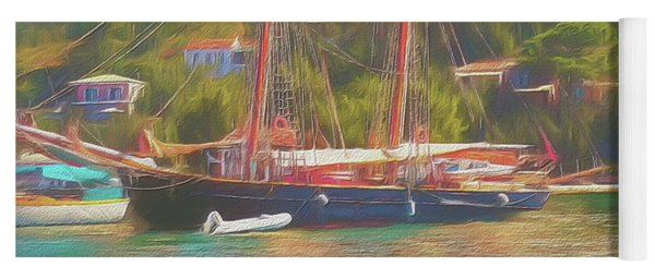 Yoga Mat featuring the photograph Corfu 35 Tall Ship In Paxos by Leigh Kemp