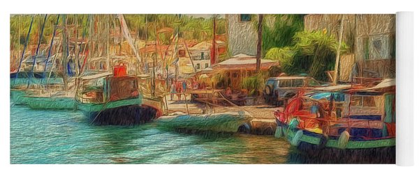 Yoga Mat featuring the photograph Corfu 39 - Boats Paxos by Leigh Kemp