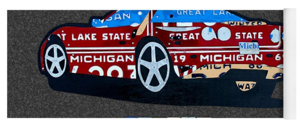 Corvette Recycled Artwork Made With Vintage Recycled Michigan License Plates Yoga Mat