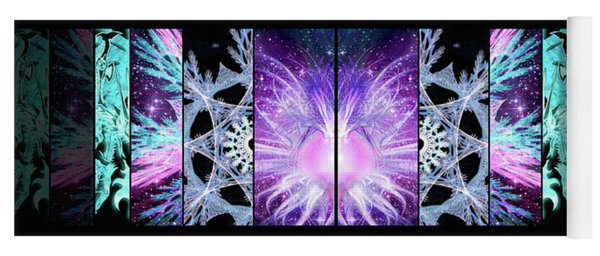 Yoga Mat featuring the mixed media Cosmic Collage Mosaic Left Mirrored by Shawn Dall