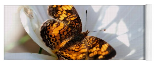 Pearl Crescent Butterfly On White Cosmo Flower Yoga Mat