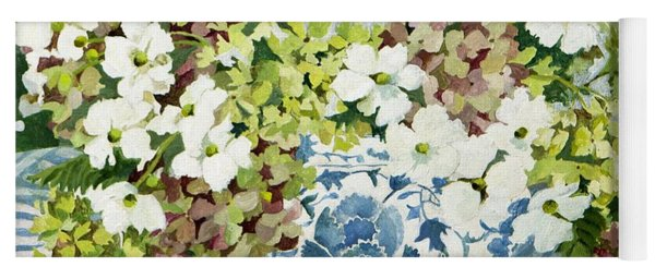 Cosmos And Hydrangeas In A Chinese Vase Yoga Mat