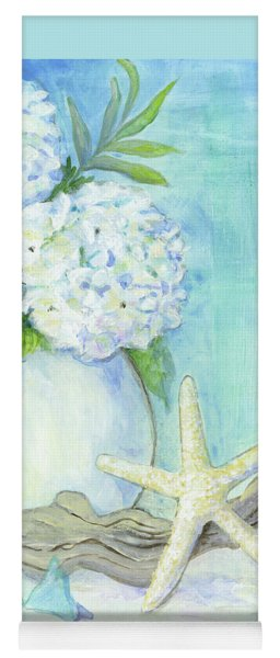 Cottage At The Shore 1 White Hydrangea Bouquet W Driftwood Starfish Sea Glass And Seashell Yoga Mat