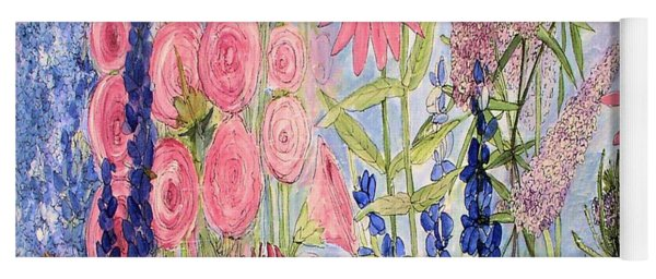 Cottage Flowers With Dragonfly Yoga Mat