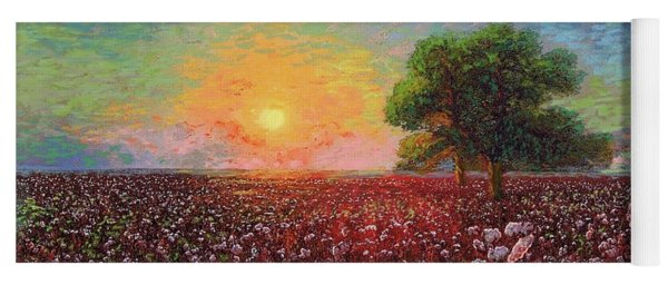 Cotton Field Sunset Yoga Mat