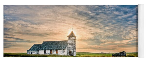 Country Church Sunrise Yoga Mat