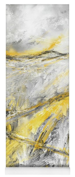 Country Glow - Yellow And Gray Modern Artwork Paintings Yoga Mat