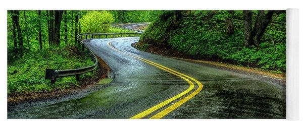 Country Road In Spring Rain Yoga Mat