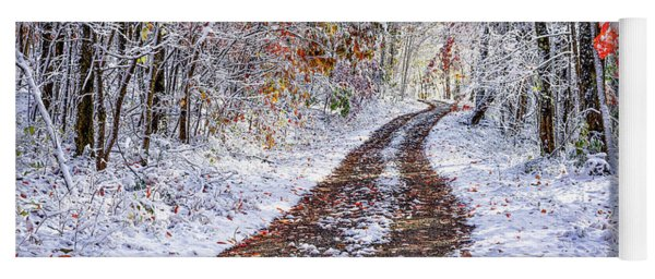 Country Road With Autumn Snow  Yoga Mat