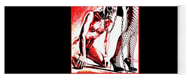 Couple Nude In Bdsm Play And Image Finished In Digital Dots Art  Yoga Mat