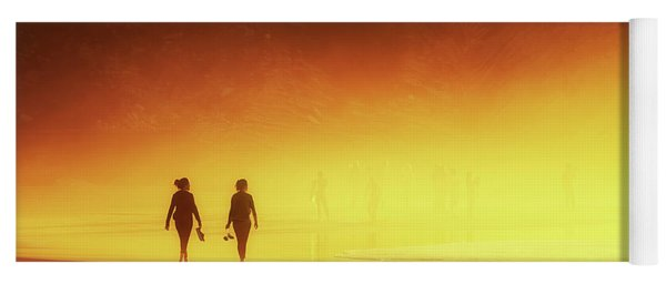 Couple Of Women Walking On Beach Yoga Mat