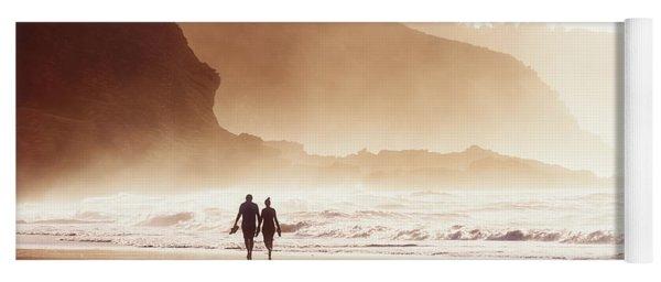 Couple Walking On Beach With Fog Yoga Mat