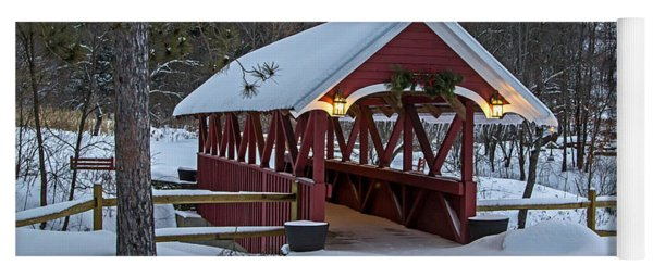 Covered Bridge In The Winter Yoga Mat