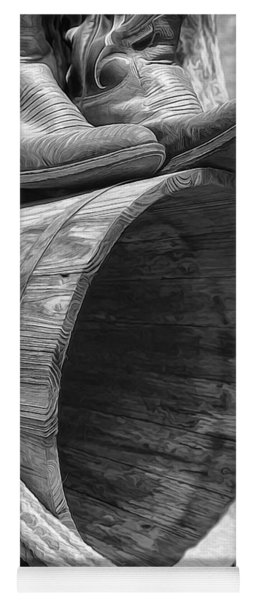 Cowboy Boots In Black And White Yoga Mat