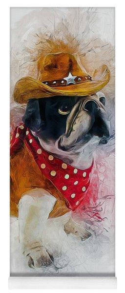 Cowboy Bulldog Yoga Mat