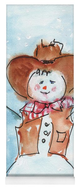 Cowboy Snowman Watercolor Painting By Kmcelwaine Yoga Mat