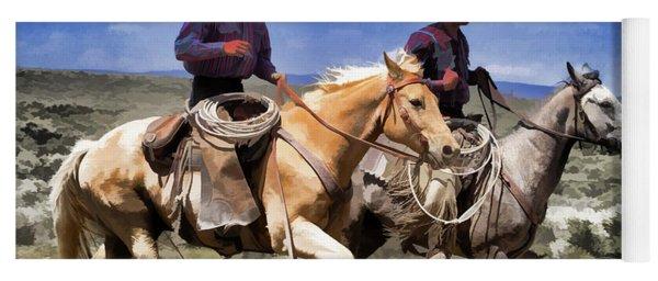 Yoga Mat featuring the digital art Cowboys On Horseback Riding The Range by Nadja Rider