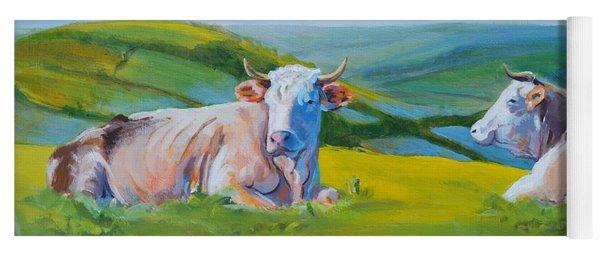 Cows Lying Down In Devon Hills Yoga Mat