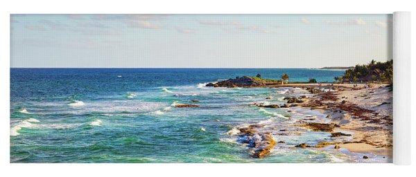 Cozumel Mexico Carribean Sea Shoreline Yoga Mat