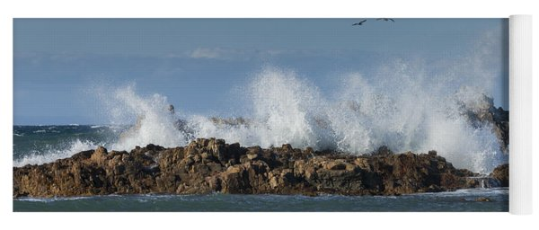 Crashing Waves And Gulls Yoga Mat