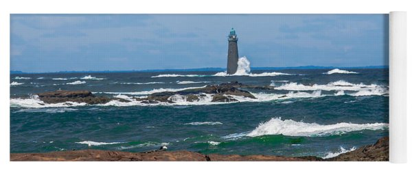Crashing Waves On Minot Lighthouse  Yoga Mat